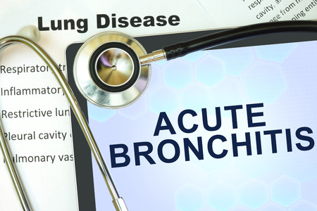 acute: Tablet with word Acute bronchitis and stethoscope. lung disease concept.
