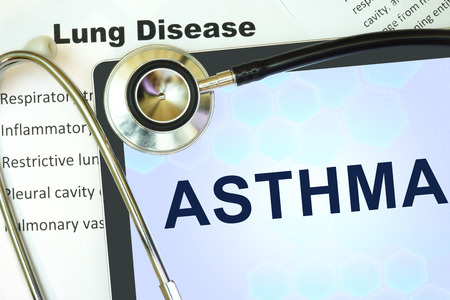 lung disease: Tablet with word Asthma and stethoscope. lung disease concept. Stock Photo