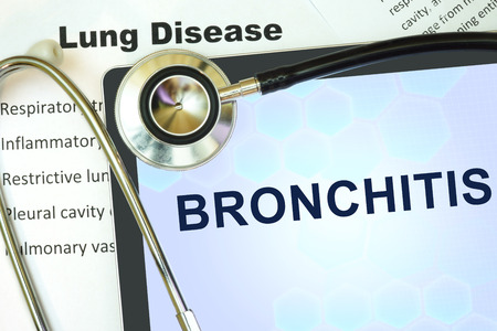 lung disease: Tablet with word bronchitis and stethoscope. lung disease concept.