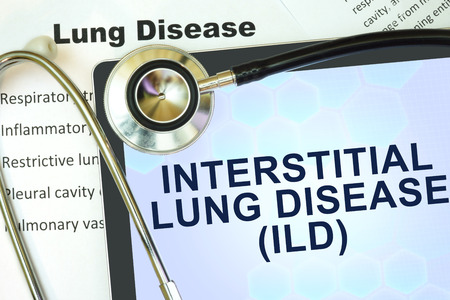 interstitial: Tablet with word  Interstitial lung disease (ILD) and stethoscope. lung disease concept.