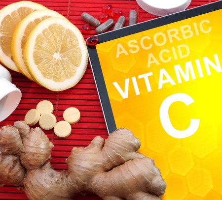 ascorbic: Tablet with words vitamin C. Healthy eating.