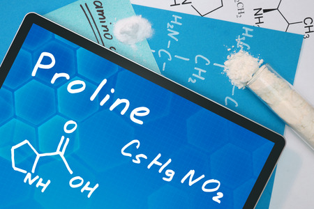 proline: Tablet with the chemical formula of  Proline.
