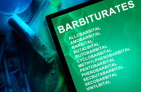 narcotics: Tablet with the chemical formula of Barbiturates. Drugs and Narcotics Stock Photo
