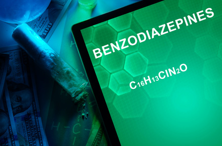 meth: Tablet with the chemical formula of Benzodiazepines. Drugs and Narcotics Stock Photo
