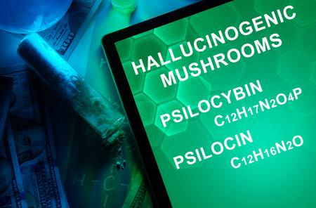 psilocybin: Tablet with the chemical formula of Hallucinogenic mushrooms psilocin, psilocybin. Drugs and Narcotics Stock Photo