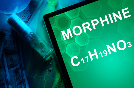 morphine: Tablet with the chemical formula of Morphine. Drugs and Narcotics