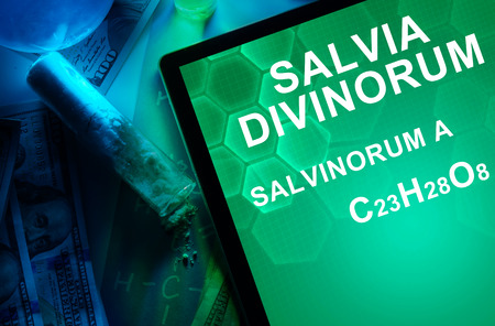 narcotics: Tablet with the chemical formula of Salvia divinorum salvinorum. Drugs and Narcotics