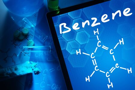 benzene: Tablet with the chemical formula of benzene.