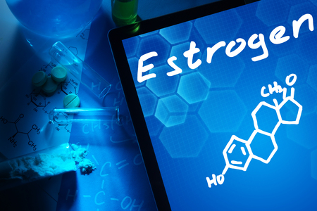 hormone: Tablet with the chemical formula of estrogen. Stock Photo