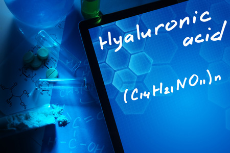 bb: Tablet with the chemical formula of hyaluronic acid.