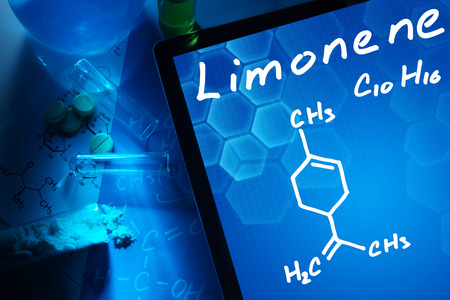limonene: Tablet with the chemical formula of Limonene.