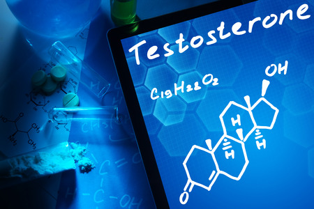testosterone: Tablet with the chemical formula of testosterone.