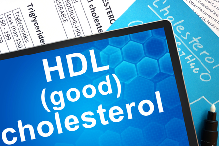 lipid: Documents with cholesterol formula and words HDL (good) cholesterol Stock Photo