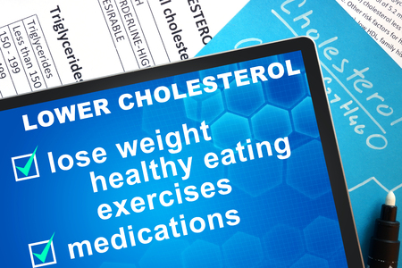 lowering: Documents with cholesterol formula and words  lowering cholesterol
