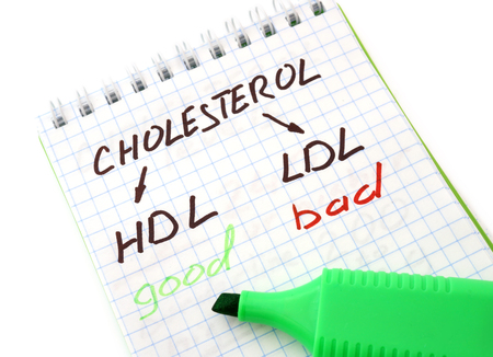 Paper  with words  hdl, ldl and cholesterol.