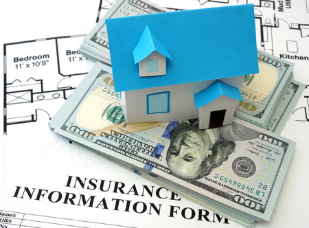 safe house: model house and insurance form with  dollars