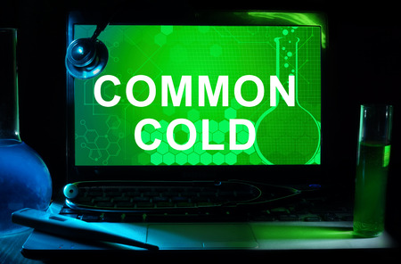 acute: Computer with words Common cold (Acute viral rhinopharyngitis, Acute coryza).