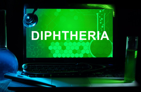 diphtheria: Computer with word Diphtheria.