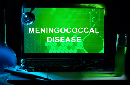 meningococcal: Computer with words Meningococcal disease. Stock Photo