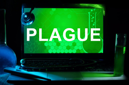 plague: Computer with words  Plague. Stock Photo