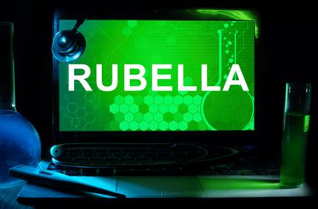 rubella: Computer with words Rubella. Stock Photo