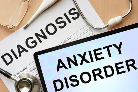 Tablet with diagnosis anxiety disorder and stethoscope. Stock Photo - 38104660