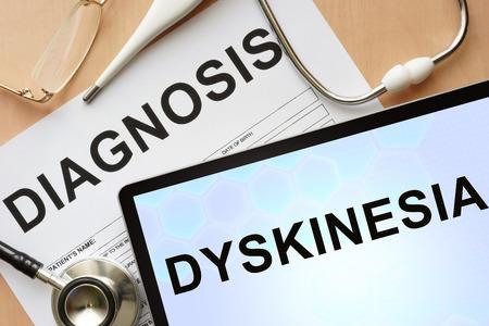 autonomic: Tablet con discinesia diagnosi e stetoscopio.