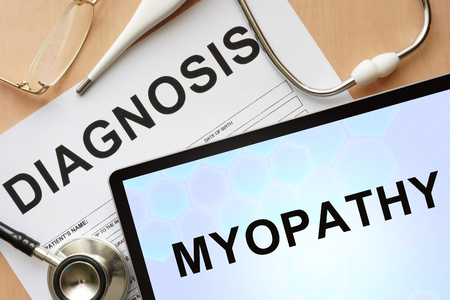 myopathy: Tablet with diagnosis myopathy and stethoscope.