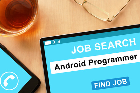 android tablet: Tablet with Android Programmer on job search site.