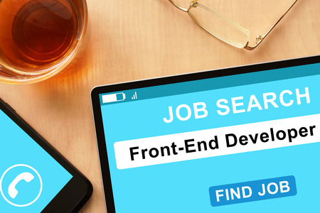 frontend: Tablet with Front-End Developer on job search site.