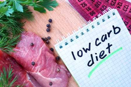 carb: Notepad with low carb diet and fresh meat