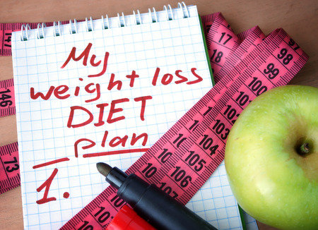 Notepad with weight loss diet plan and measuring tape. Stock Photo