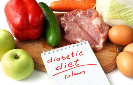 diabetes: Diabetes concept. Notepad  with diabetic diet and raw organic food. Stock Photo
