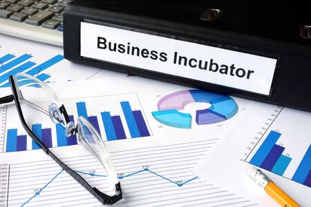 incubation: File folder with words Business Incubator and financial graphs. Stock Photo