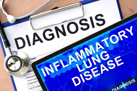 inflammatory: Form with word diagnosis and tablet with Inflammatory lung disease