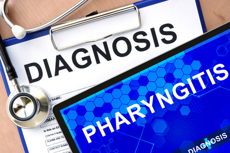 pharyngitis: Form with word diagnosis and tablet with pharyngitis