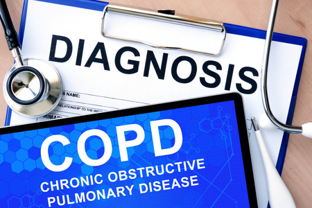 bronchitis: Form with word diagnosis and tablet with Chronic obstructive pulmonary disease (COPD) Stock Photo