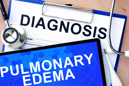 pulmonary: Form with word diagnosis and tablet with Pulmonary edema