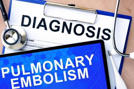 embolism: Form with word diagnosis and tablet with Pulmonary embolism Stock Photo