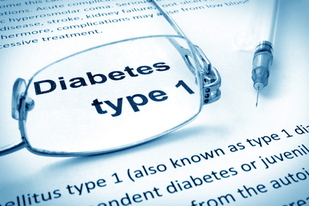 blood type: Paper with words diabetes type 1 and glasses.