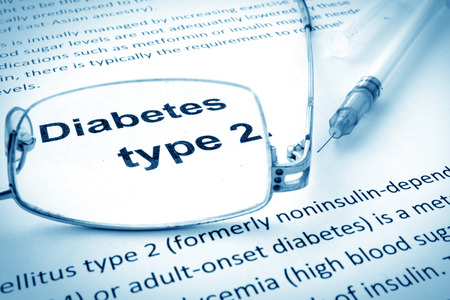 diabetes mellitus: Paper with words diabetes type 2 and glasses.