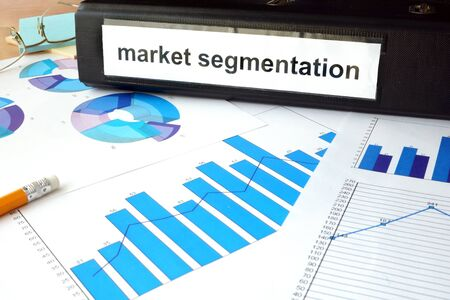 segmentation: Folder with the label market segmentation and charts Stock Photo