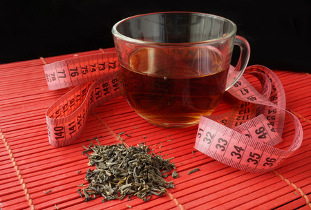 for tea: Cup of green tea for weight loss Stock Photo