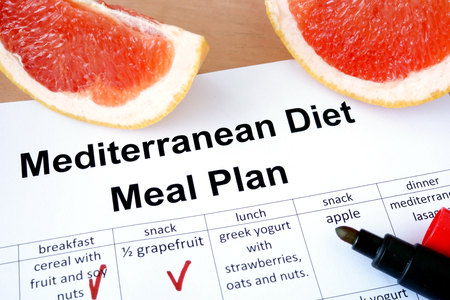 Mediterranean diet meal plan and grapefruit. Weight loss concept. photo