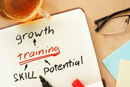 human development: Notepad with words growth training skill and potential concept. Stock Photo