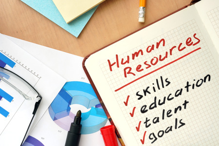 Notepad with words human resources concept. photo
