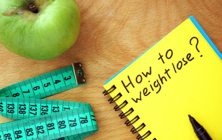 Notepad with words How to weight lose. Diet concept. photo