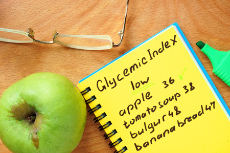 Foods with low Glycemic index list on a wood board. Stock Photo
