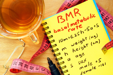 metabolic: BMR basal metabolic rate formula in a notepad.