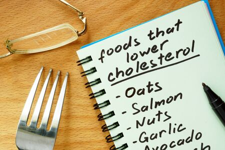 good cholesterol: Paper with foods that lower cholesterol list on a wooden board. Stock Photo